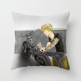 TatChat Working on  a Bike Throw Pillow