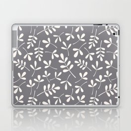 Assorted Leaf Silhouettes Cream on Grey Ptn Laptop & iPad Skin