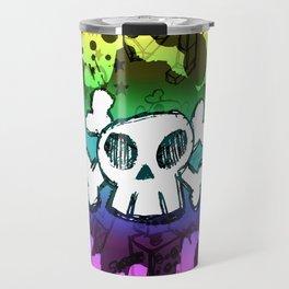 Rainbow Cartoon Skull Travel Mug