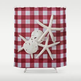 Red Check Sea Stars And Sand Dollars Shower Curtain