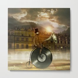 Music Man in the City, by Eric Fan and Viviana González Metal Print