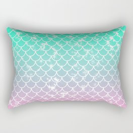 Pastel Mermaid Scallop Pattern Rectangular Pillow