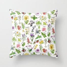Plants & Herbs Alphabet Throw Pillow