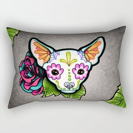 Chihuahua in White - Day of the Dead Sugar Skull Dog Rectangular Pillow