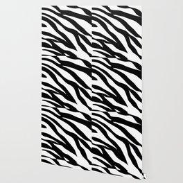 modern safari animal print black and white zebra stripes Wallpaper
