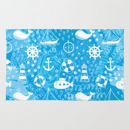 Doodle seamless pattern with whales, sailing ships, wheels, lifebuoys and lighthouses. Rug