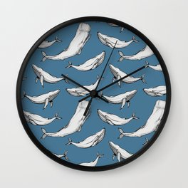 Whales in blue Wall Clock