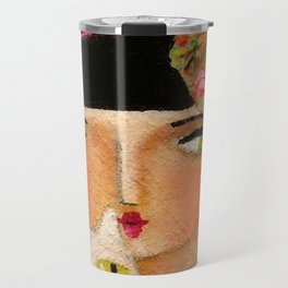 White Cat and Flapper girl pretty painting by Tascha Travel Mug