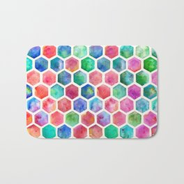 Hand Painted Watercolor Honeycomb Pattern Bath Mat
