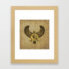 Egyptian Eye of Horus - Wadjet Gold and Wood Framed Art Print