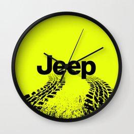 Jeep 'Tire-tracks' Hyper Green Wall Clock