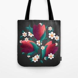 Bouquet (Tulipes et Marguerittes) Noir Tote Bag