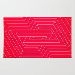 Modern minimal Line Art / Geometric Optical Illusion - Red Version  Rug