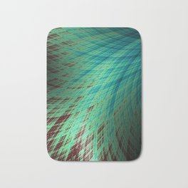 Run Off - Teal and Brown - Fractal Art Bath Mat