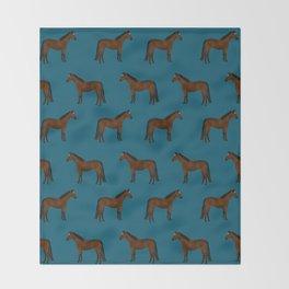 Bay Horse breed farm animal pet pattern horses Throw Blanket