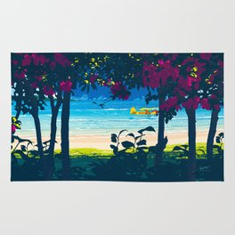 Red flower shade and beach Rug