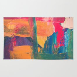 Abstract Art Colorful Vibrant Strong Brush Strokes Rug