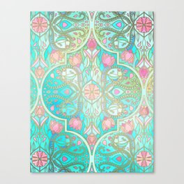 Floral Moroccan in Spring Pastels - Aqua, Pink, Mint & Peach Canvas Print