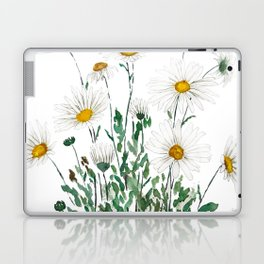 white Margaret daisy watercolor Laptop & iPad Skin