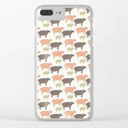 Pink Brown and Green Natural Color Sheep Clear iPhone Case