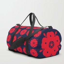 Japanese Samurai flower red pattern Duffle Bag