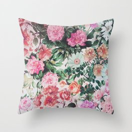 Vintage green pink lavender country floral Throw Pillow