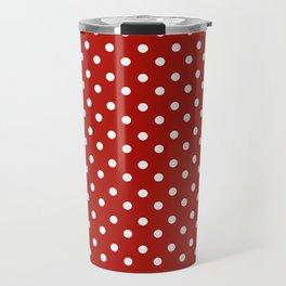 White & Red Navy Polkadot Pattern Travel Mug