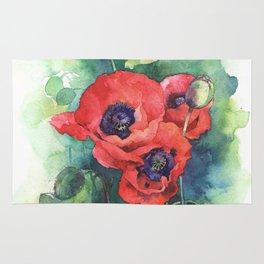 Poppy flowers rugs society6 watercolor red poppy flowers rug mightylinksfo