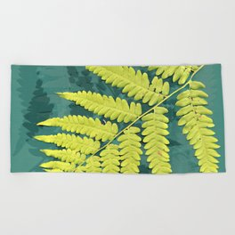 From the forest - lime green on teal Beach Towel