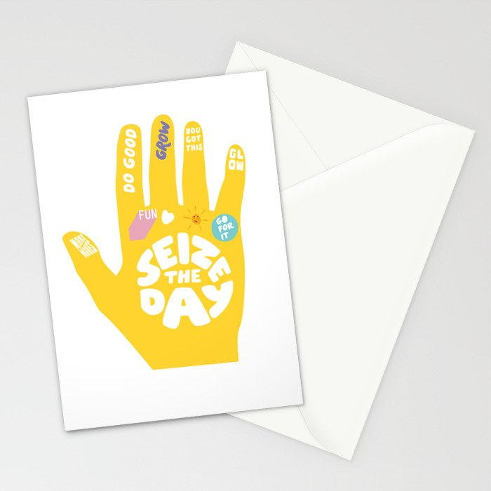Seize the day – Sunshine hand Stationery Cards