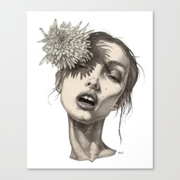Katty and the big white flower Canvas Print