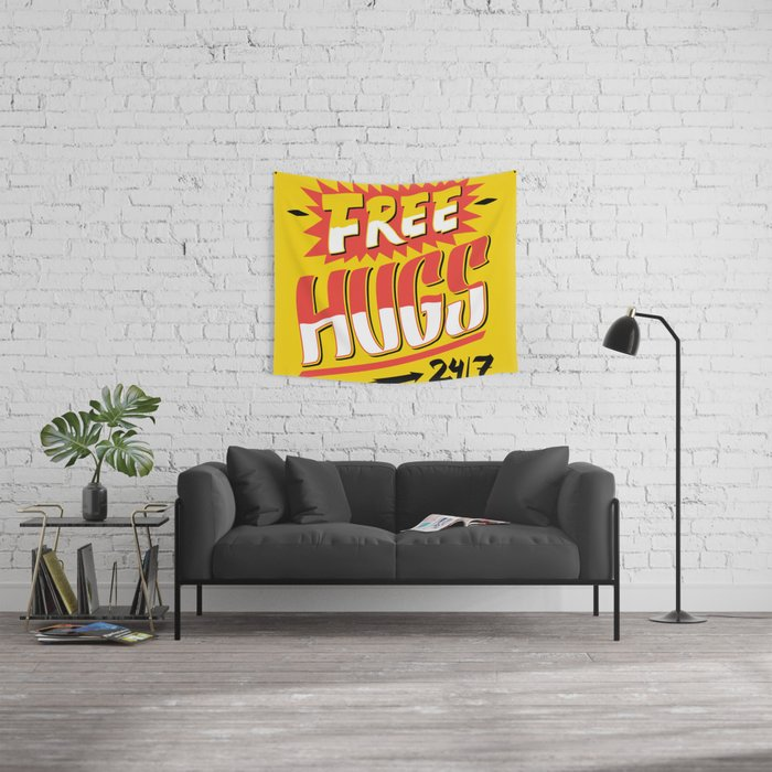 Free Hugs Cheap Love Wall Tapestry