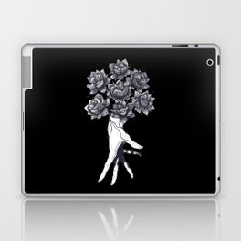 Hand with lotuses on black Laptop & iPad Skin
