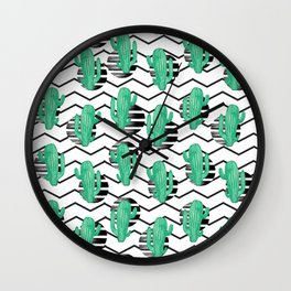 cacti + black Wall Clock