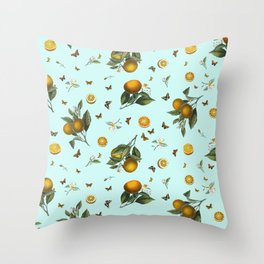 Oranges and Butterflies on Mint Throw Pillow