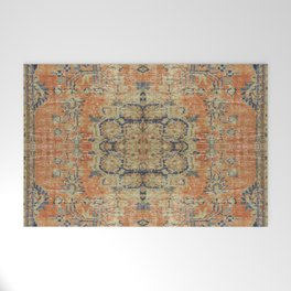 Vintage Woven Coral and Blue Welcome Mat