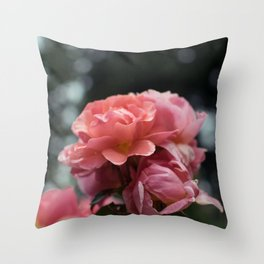 Roses and Raindrops: Peach Throw Pillow
