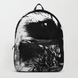 raccoon watercolor splatters black white Backpack