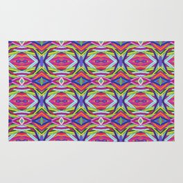 Multicolor Layered Stripes Pattern Rug