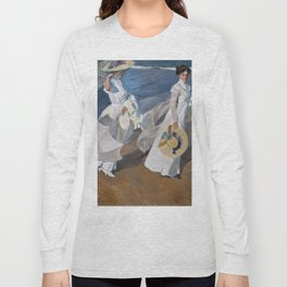 Joaquin Sorolla Y Bastida - Strolling along the seashore Long Sleeve T-shirt