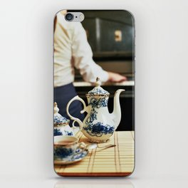 Tea pot and girl playing the piano iPhone Skin