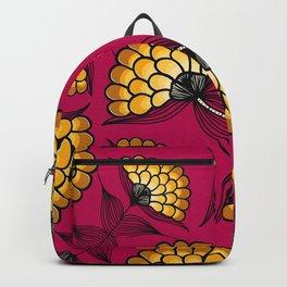 African Floral Motif on Pink Backpack