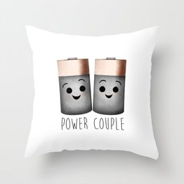 Power Couple | Batteries Throw Pillow