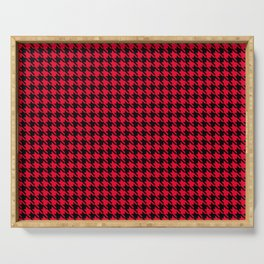 PreppyPatterns™ - Cosmopolitan Houndstooth - black and cherry red Serving Tray