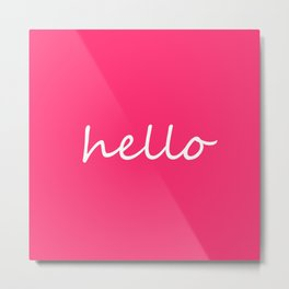 hello pink & white Metal Print