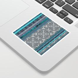 Teal, Aqua & Grey Vintage Bohemian Wallpaper Stripes Sticker
