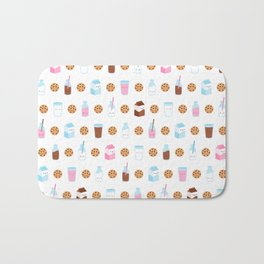 Milk and Cookies Pattern on White Bath Mat