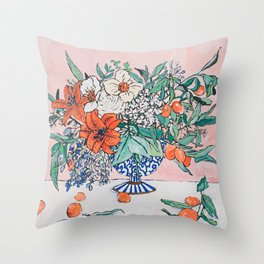 California Summer Bouquet - Oranges and Lily Blossoms in Blue and White Urn Throw Pillow