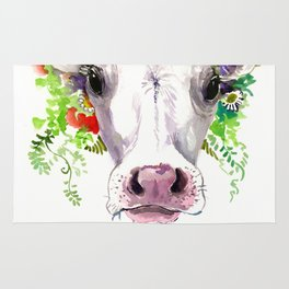 Cow and Flowers, Cow head floral Farm Rug
