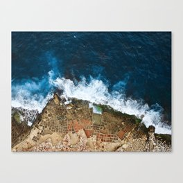 An aerial shot of the Salt Pans in Marsaskala Malta Canvas Print